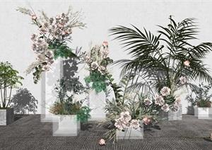 现代花艺 花束 花瓶 摆件 装饰品 花草 插花 花卉 干花 盆栽SU(草图大师)模型