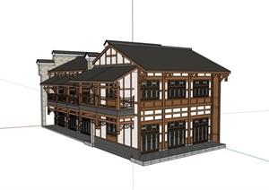 中式风格详细的多层餐饮酒楼建筑SU(草图大师)模型