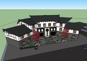 三层中式餐饮酒楼建筑SU(草图大师)模型