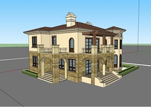 详细的完整两层独栋别墅SU(草图大师)模型
