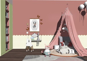 现代儿童帐篷书桌椅儿童房SU(草图大师)模型