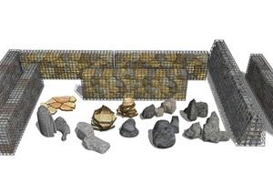 新中式假山石头石笼网石头景墙景观石头SU(草图大师)模型