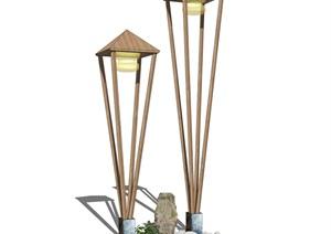 新中式景观灯路灯SU(草图大师)模型