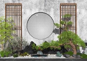 新中式景观小品 枯山水景观 松树景观树 假山石头 禅意景观 庭院景观SU(草图大师)模型