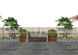 现代休闲椅 户外椅 乔木 树 植物SU(草图大师)模型