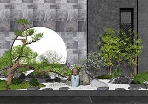 新中式景观小品 枯山水景观 松树景观树 假山石头 禅意景观 庭院景观SU(草图大师)模型1