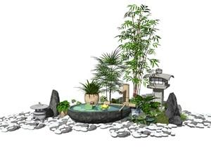 新中式景观小品庭院景观跌水景观水景石头盆栽植物SU(草图大师)模型