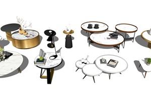 现代茶几摆件装饰品组合SU(草图大师)模型