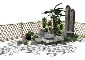 新中式景观小品跌水景观庭院景观石头栓马柱篱笆SU(草图大师)模型