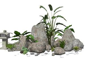 新中式假山叠石 植物石头造景SU(草图大师)模型