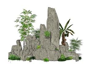 新中式假山叠石 石头 植物SU(草图大师)模型