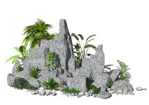 新中式假山叠石 景观庭院景观小品 石头 植物SU(草图大师)模型