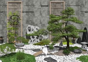新中式 庭院景观 景观小品 景观树石头 植物SU(草图大师)模型