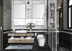 現代風格室內衛生間設計SU(草圖大師)模型