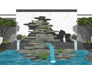 新中式庭院景观 滨水景观 假山石头 乔木 石头 休闲椅SU(草图大师)模型