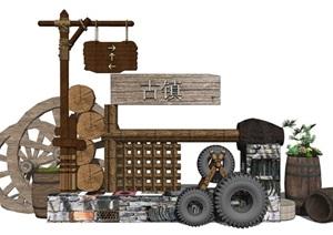 新中式 日式庭院 田园 乡村农村 民宿设计景观小品SU(草图大师)模型