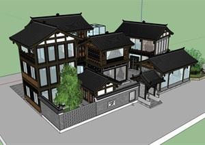 古典中式民居居住建筑楼设计SU(草图大师)模型
