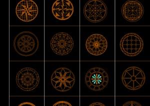 圆拼花100个图案CAD平面图,常用广场平面图CAD