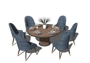 现代餐座椅组合SU(草图大师)模型