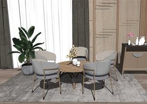 新中式休闲椅 桌椅组合隔断 置物架SU(草图大师)模型2