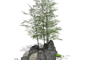 新中式假山叠石 石头 竹子 景观小品SU(草图大师)模型