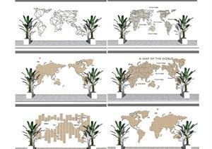 现代地图墙贴地图景墙文化墙SU(草图大师)模型