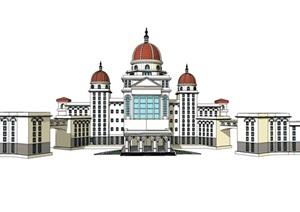 欧式城堡建筑SU(草图大师)模型