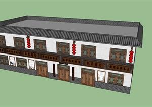 小镇建筑改造SU(草图大师)模型