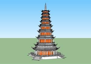 唐代风格宝塔SU(草图大师)模型