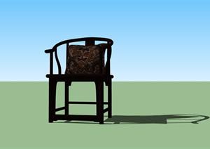 中式风格室内太师椅SU(草图大师)模型