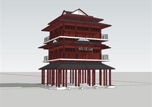 某市区沿江的中式阁楼SU(草图大师)模型