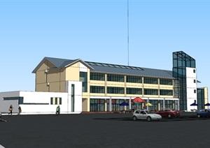 高速公路服务区停车区办公楼综合楼01SU(草图大师)模型