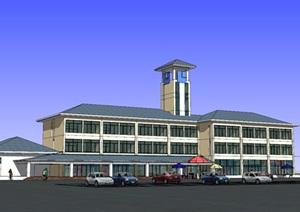 高速公路服务区停车区办公楼综合楼02SU(草图大师)模型