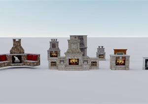 某歐式風格壁爐合集素材設計SU(草圖大師)模型
