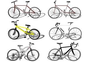 现代自行车单车组合SU(草图大师)模型