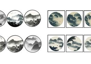 新中式装饰画挂画SU(草图大师)模型