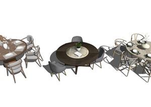 现代餐座椅组合SU(草图大师)模型5