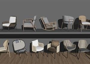 新中式餐桌椅 禅意休闲椅 户外藤椅 椅子SU(草图大师)模型5
