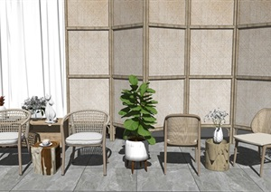 现代户外休闲桌椅 藤编休闲椅 植物盆栽 茶几摆件SU(草图大师)模型