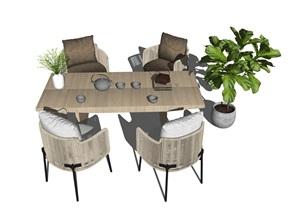 现代户外休闲桌椅 单人沙发 藤编休闲椅  盆栽SU(草图大师)模型