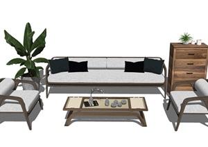 现代沙发茶几组合 储物柜 盆栽SU(草图大师)模型