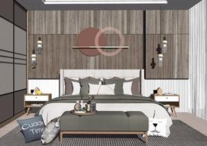 现代卧室双人床床头柜衣柜抱枕装饰摆件SU(草图大师)模型