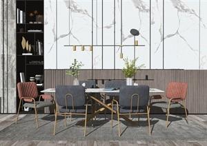 现代餐桌椅组合背景墙摆件花瓶SU(草图大师)模型