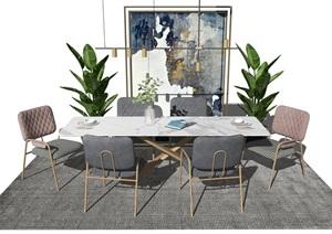 现代餐桌椅组合盆栽椅子餐桌地毯SU(草图大师)模型