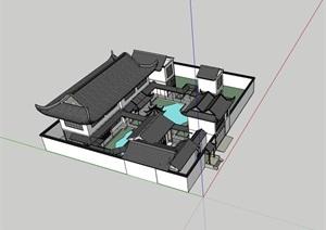 古典中式四合院居住别墅SU(草图大师)模型