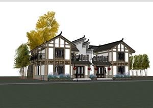 古典中式风格独特多个完整别墅设计SU(草图大师)模型