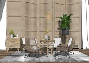 新中式休闲椅桌椅组合隔断边几SU(草图大师)模型