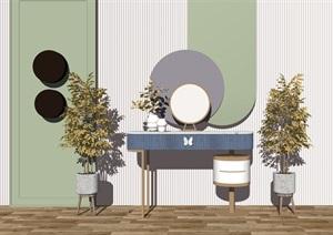 现代梳妆台梳妆镜背景墙盆栽边几SU(草图大师)模型