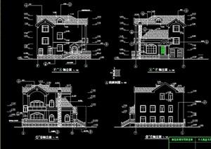 完整的详细多层别墅设计cad施工图