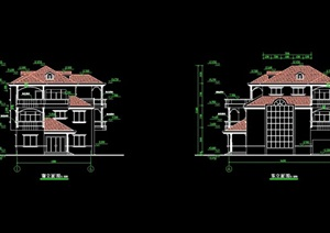 某欧式风格独栋多层全套别墅cad方案图纸